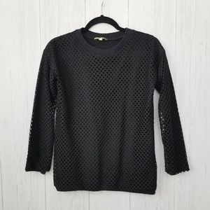 Gianni Bini Fishnet Lined Black Top SIze Small
